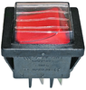Power switch with rubber protection red 22x30mm