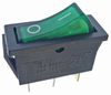 Power switch 16A green 11x30mm